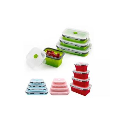 Four Reusable Silicone Collapsible Food Storage Boxes: Blue