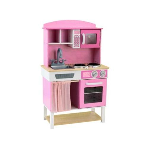 Kinderküche Kinderküche Spielküche aus Holz mit Zubehör pink-rosa
