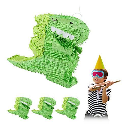 4 x Dino Pinata, Schlagpinata Partydeko, Piñata Dinosaurier zum Befüllen grün