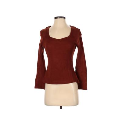 Family Affair Pullover Sweater: Brown Solid Tops - Size Small