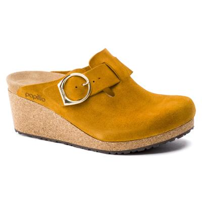 BIRKENSTOCK Papillio Fanny Ring-Buckle Suede Leather Buckthorn With A Heel