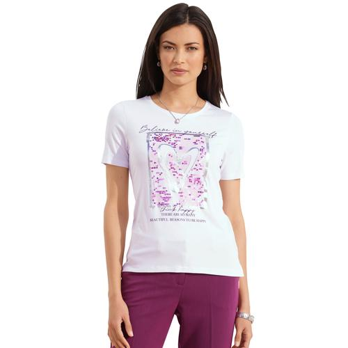 Amy Vermont Paillettenshirt, mit Pailletten-Verzierung weiß Damen Jersey Shirts Sweatshirts Paillettenshirt