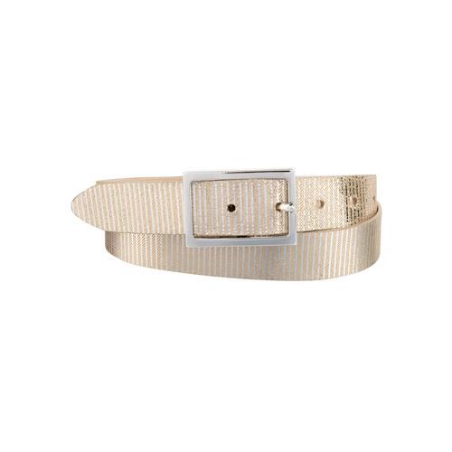 BERND GÖTZ Ledergürtel, mit metallisch reflektierender Streifenoptik beige Damen Ledergürtel Gürtel Accessoires