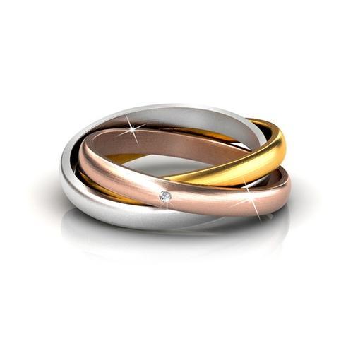 3-in-1 Damen-Ring mit Kristall: Gr. 52