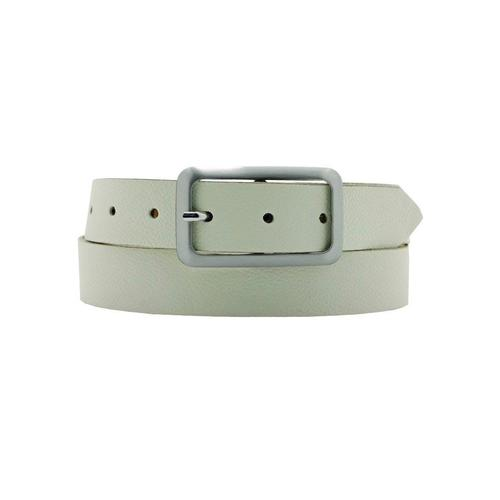 AnnaMatoni Ledergürtel, Mit satinierter eckiger schlichter Gürtelschließe weiß Damen Ledergürtel Gürtel Accessoires
