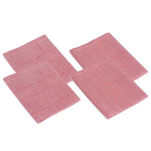 Gözze Geschirrtücher Karo und Streifen 4er Pack, 50 x 70 cm (rot)