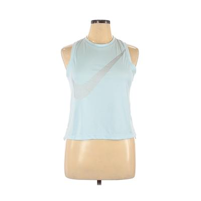 Nike Active Tank Top: Blue Solid Activewear - Size Large