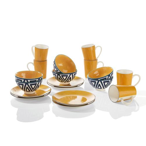ERNESTO® Porzellan Geschirr 18 tlg. Set (gelb)