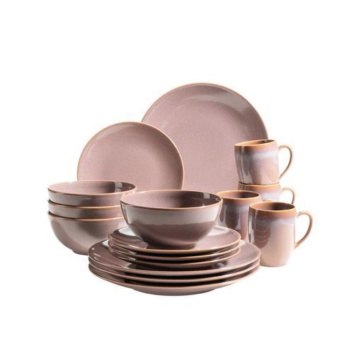 MÄSER Serie Ossia, Geschirr-Set für 4 Personen im mediterranen Vintage Look, 16-teiliges Kombiservice aus Keramik (16 tlg, Braun)