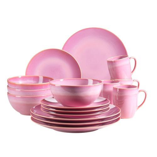 MÄSER Serie Ossia, Geschirr-Set für 4 Personen im mediterranen Vintage-Look, 16-teiliges Kombiservice (16 tlg, Pink)