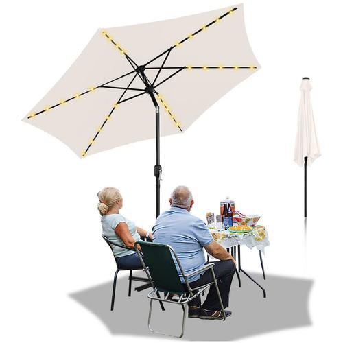 3m Sonnenschirm Marktschirm mit Handkurbel UV30+ Outdoor-Schirm Terrassen mit LED Solar Beige 3m