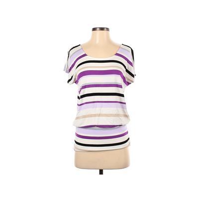White House Black Market Short Sleeve T-Shirt: Purple Tops - Size X-Small