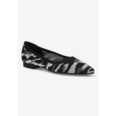 Extra Wide Width Women's Mireya Flat by Bella Vita in Black Grey Camo (Size 9 WW)