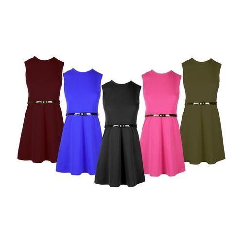 Mädchen-Kleid mit Gürtel: Kirschrot/Gr. 13