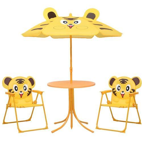 3-tlg. Garten-Bistro-Set für Kinder mit Sonnenschirm Gelb
