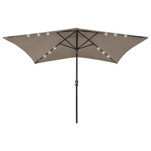 vidaXL Sonnenschirm mit LEDs und Stahl-Mast Taupe 2x3 m
