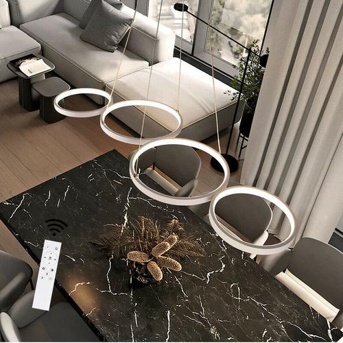 ZMH LED Dimmbar Pendelleuchte Modern 4 Flammig Esstischlampe Weiß Schlafzimmerlampe 54W in