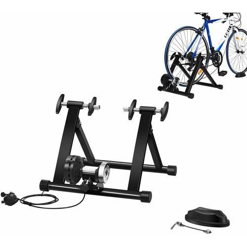 Rollentrainer mit Vorderradstuetze und Schaltung mit 8 Gaengen, Fahrrad Heimtrainer klappbar,
