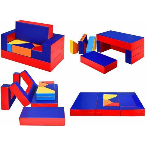 4 in 1 Kinder Sofa & Sitzgruppe & Bett & Puzzle Matraze, 6 TLG. Schaumstoffbausteine, Spielsofa
