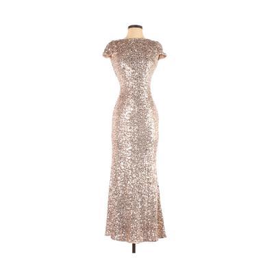 Badgley Mischka Cocktail Dress - Formal: Gold Dresses - Used - Size 0