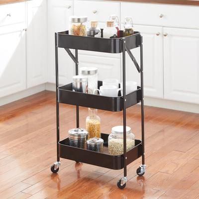 3-Tier Foldable Rolling Cart by BrylaneHome in Black