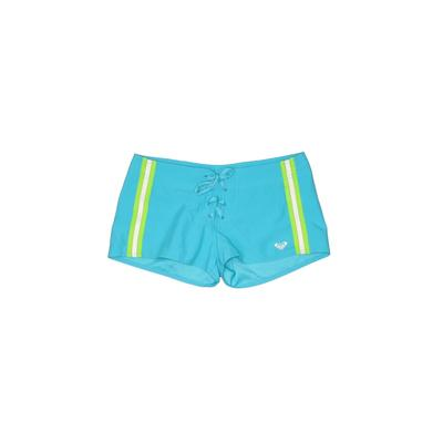 Roxy Board Shorts: Blue Solid Swimwear - Size Small