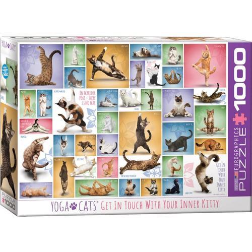 Puzzle 1000 Teile-Yoga Katzen