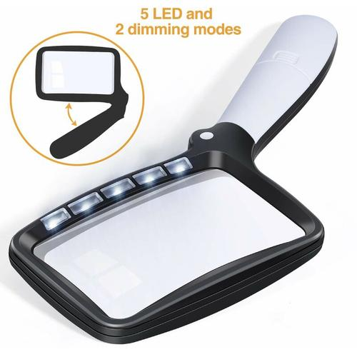 Soekavia - Faltbare Leselupe Große 5 LED Lupe mit Licht 3-fach 2-Modus Taschenlupe Dimmbare Lupe