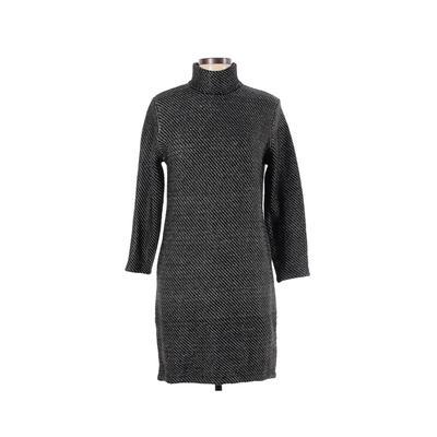 Zara - Zara Casual Dress - Sweater Dress: Black Color Block Dresses - Used - Size Large