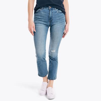 Nautica Women's Nautica Jeans Co. Sustainably Crafted High-Rise Demi-Boot Denim Grey Mist, 33