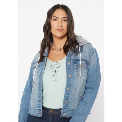 Rue21 Womens Plus Size Medium Wash Hooded Jean Jacket - Size 3X