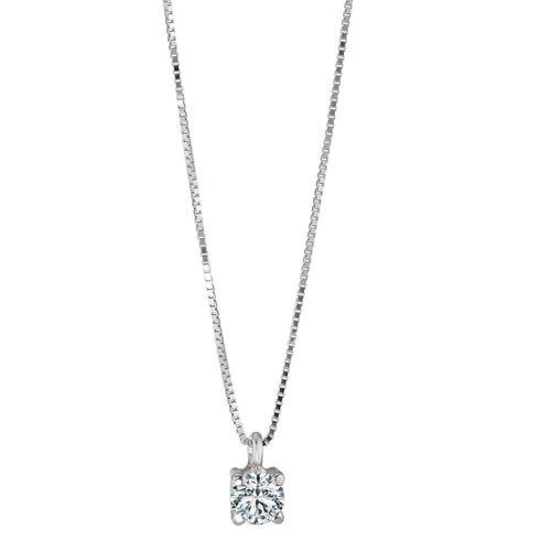 Collier 750/18 K Weissgold Diamant 0.20 ct 42 cm Ø3.5 mm
