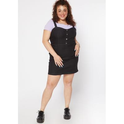 Rue21 Womens Plus Size Black Button Front Jean Dress - Size 3X