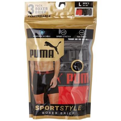Puma Mens 3-pk. Dry Cell Sport Style Boxer Briefs