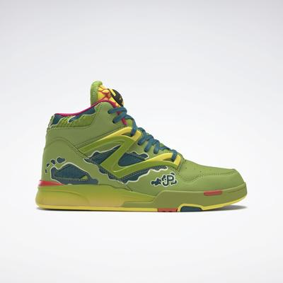 Reebok Unisex Jurassic Park Pump Omni Zone II Men's Basketball Shoes in Ultra Lime/Heritage Teal/Stinger Yellow Size M 10.5 / W 12 - Basketball Shoes