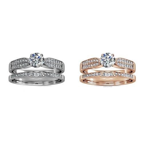 Damen-Ring mit Kristallen: Roségold/Gr. 58