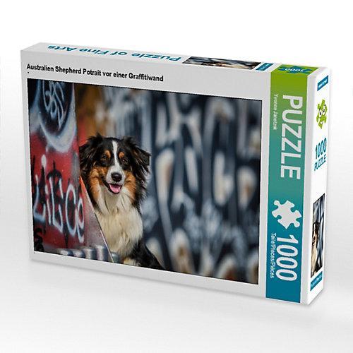 Australien Shepherd Potrait vor einer Graffitiwand Foto-Puzzle Bild von Yvonne Janetzek Puzzle