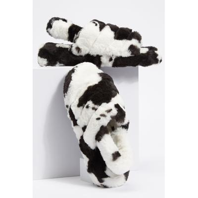 Rue21 Womens Cow Print Fluffy Slingback Slippers - Size 9