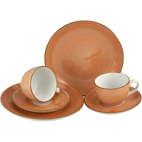 CreaTable Geschirr-Set VINTAGE NATURE, (Set, 6 tlg.), handgemalt, gesprenkelt orange Geschirr-Sets Geschirr, Porzellan Tischaccessoires Haushaltswaren