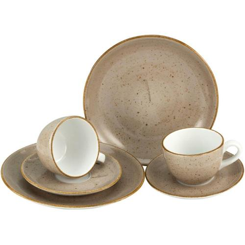 CreaTable Geschirr-Set VINTAGE NATURE, (Set, 6 tlg.), handgemalt, gesprenkelt grau Geschirr-Sets Geschirr, Porzellan Tischaccessoires Haushaltswaren