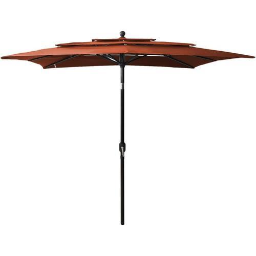 Sonnenschirm mit Alu-Mast 3-lagig Terracotta-Rot 2,5x2,5 m