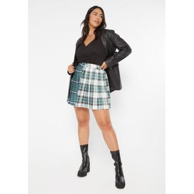 Rue21 Womens Plus Size Teal Green Plaid Colorblock Pleated Skirt - Size 1X