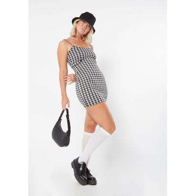 Rue21 Womens Black Gingham Plaid Button Detail Mini Dress - Size Xl