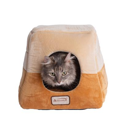2-In-1 Cat Bed Cave Shape And Cuddle Pet Bed by Armarkat in Brown Beige