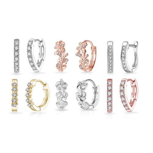 Creolen: 1 / Creolen mit 5 Kristallen / Silber