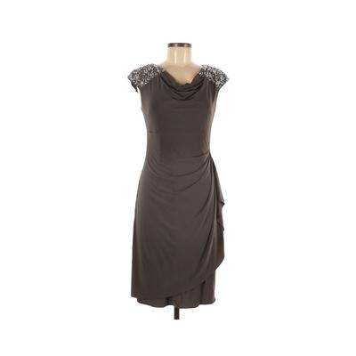 Alex Evenings Cocktail Dress - Sheath: Gray Solid Dresses - Used - Size 6