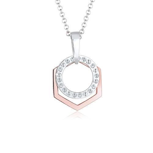 Halskette Hexagon Kreis Kristalle 925 Silber Elli Rosegold