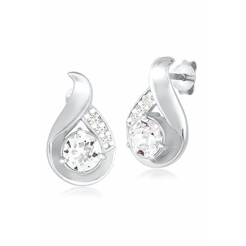 Ohrringe Tropfen Kristalle Glamour 925 Silber Elli Weiß