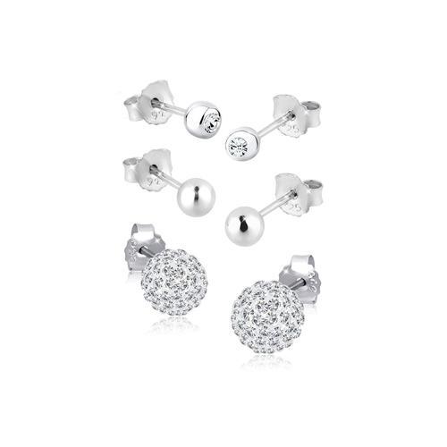 Ohrringe 3Er Set Kristalle 925 Silber Elli Weiß