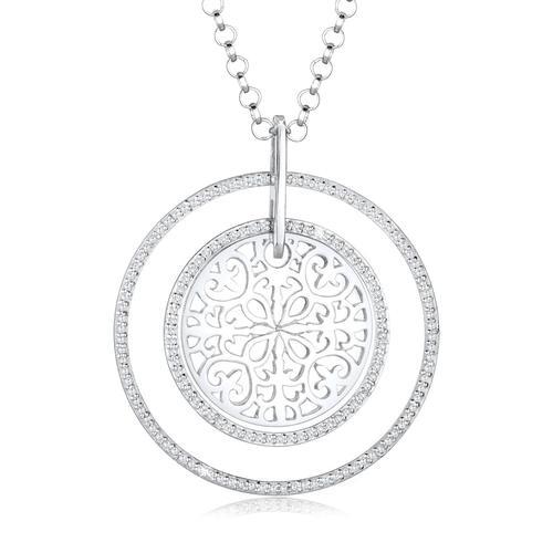Halskette Ornament Zirkonia Kristalle 925 Sterling Silber Elli Premium Weiß